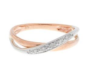 9ct Rose & White Gold Diamond Dress Ring
