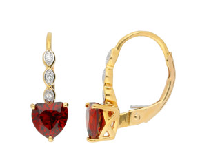 9ct Yellow Gold Garnet Heart Earrings