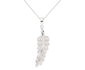 Sterling Silver & Cubic Zirconia Leaf Pendant