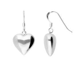 Sterling Silver Heart Shaped Drop Earrings