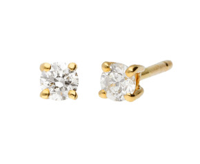 9ct Yellow Gold 0.25ct Diamond Solitaire Stud Earrings