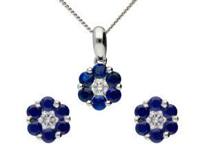 18ct White Gold Sapphire & Diamond Cluster Earrings & Pendant Jewellery Set