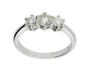18ct White Gold Certified 0.78ct Diamond Trilogy Ring