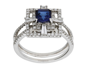 Pre-Owned 18ct White Gold 1.13ct Sapphire & Diamond Dress Ring