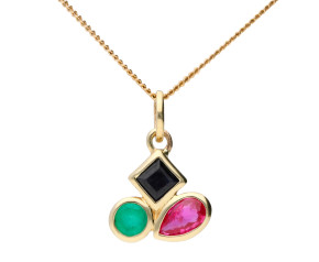 9ct Yellow Gold Ruby, Sapphire & Emerald Pendant