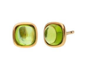 9ct Yellow Gold Peridot Solitaire Stud Earrings