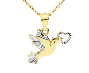 9ct Yellow & White Gold Dove Pendant