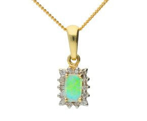 9ct Yellow Gold 0.20ct Opal & Diamond Cluster Pendant