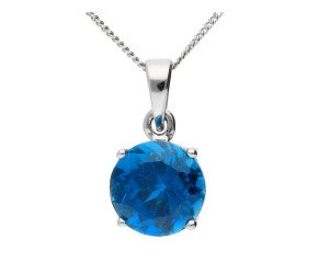 9ct White Gold 2.50ct London Blue Topaz Solitaire Pendant