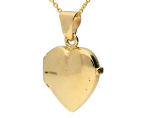 9ct Yellow Gold Plain Heart Locket