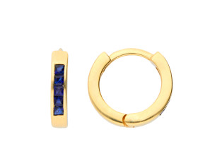 9ct White Gold 0.35ct Sapphire Hinged Hoop Earrings