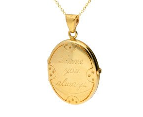 9ct Yellow Gold 'Love You Always Locket' Oval Locket