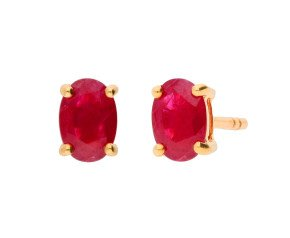 9ct Yellow Gold 1.00ct Oval Ruby Solitiare Stud Earrings