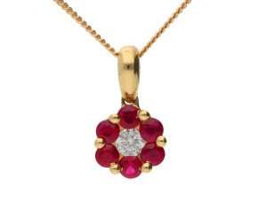 18ct Yellow Gold 0.35ct Ruby & 0.10ct Diamond Cluster Pendant