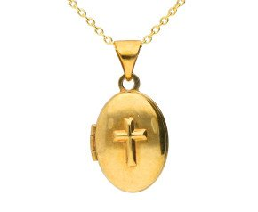 9ct Yellow Gold Small Cross Oval Locket