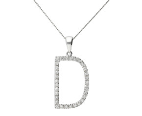 9ct White Gold Diamond Letter 'D' Pendant