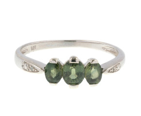 Pre-Owned Green Sapphire & Diamond Trilogy Ring