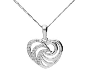 9ct White Gold & Diamond Heart Swirl Pendant