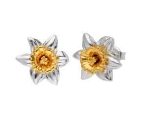 Silver & Yellow Gold Vermeil Daffodil Flower Stud Earrings