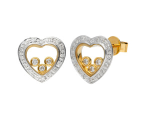 9ct Yellow & White Gold Floating Diamond Heart Stud Earrings