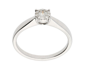 9ct White Gold Diamond Cluster Dress Ring