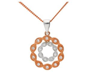 9ct Rose & White Gold 0.12ct Diamond Cluster Pendant