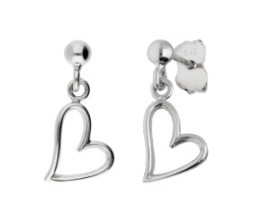 9ct White Gold Heart Drop Earrings