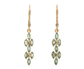 Pre-Owned Green Amethyst Drop Earrings
