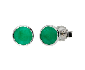 9ct White Gold 5mm Emerald Solitaire Round Shape Stud Earrings