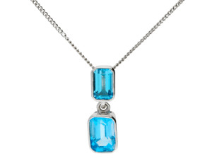 9ct White Gold 0.70ct Topaz Pendant