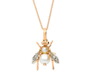 Handcrafted Italian 9ct Rose Gold Pearl & Diamond Bee Pendant
