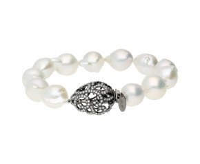 Baroque Pearl Bracelet & 18ct Gold Hollow Tear Drop Clasp