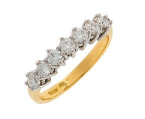 18ct Gold 0.83ct Diamond Seven Stone Ring