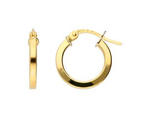 18ct Yellow Gold Square Edge Hoop Earrings