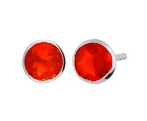 9ct White Gold 0.90ct Round Fire Opal Solitare Stud Earrings
