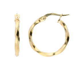 9ct Yellow Gold 19mm Twisted Hoop Earring