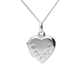 Sterling Silver Small Engraved Heart Locket