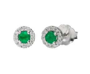 9ct White Gold Emerald & Diamond Halo Cluster Stud Earrings