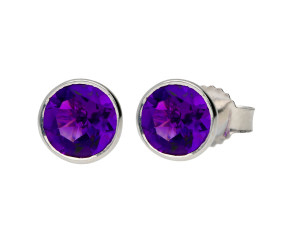 9ct White Gold 0.60ct Round Amethyst Solitaire Stud Earrings