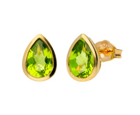 9ct Yellow Gold 1.60ct Pear Peridot Solitaire Stud Earrings
