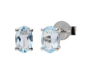 9ct White Gold 0.80ct Oval Aquamarine Solitaire Stud Earrings