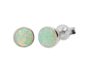 9ct White Gold 5mm Opal Solitaire Round Shape Stud Earrings