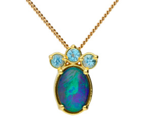 9ct Yellow Gold Opal Fancy Pendant