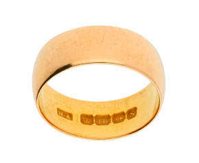 Vintage 1940's 22ct Gold D Shaped 7.6mm Wedding Band