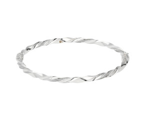 9ct White Gold Fancy Hinged Twist Bangle