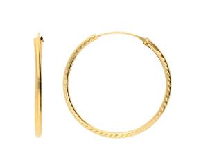 9ct Yellow Gold 25mm Sleeper Hoop Earrings