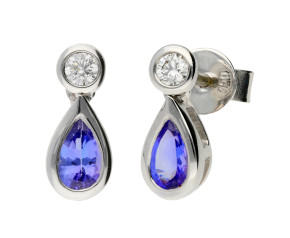 18ct White Gold 0.42ct Tanzanite & 0.08ct Diamond Fancy Earrings