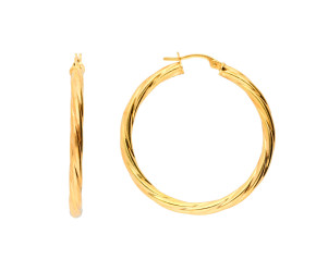 9ct Yellow Gold 3.5mm Twisted Hoop Earrings