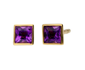 9ct Yellow Gold 3mm Amethyst Solitaire Square Shape Stud Earrings