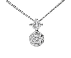 9ct White Gold 0.16ct Diamond Cluster Pendant